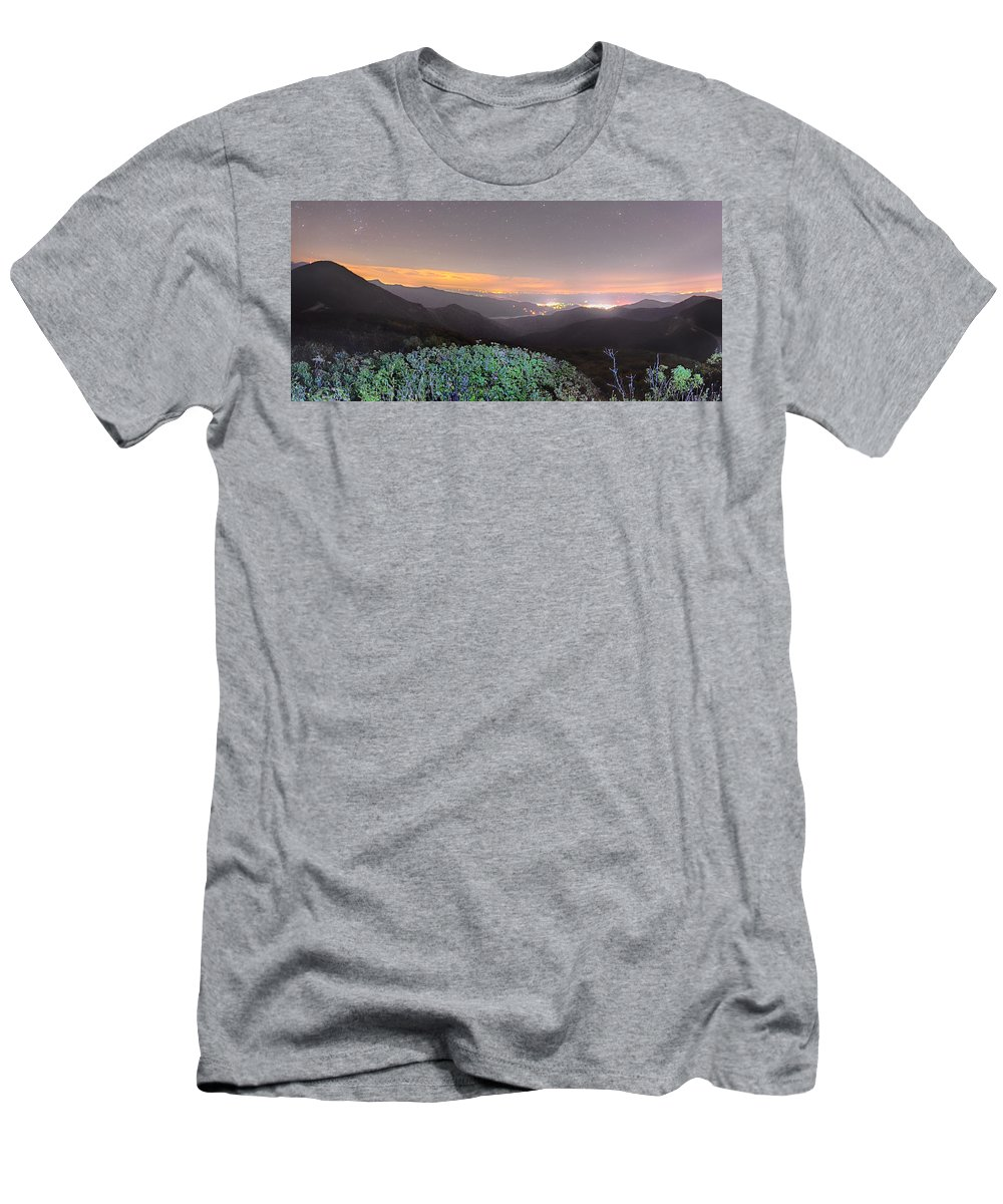 Gardens Men's T-Shirt (Athletic Fit) featuring the photograph View Of The Appalachians From Craggy Pinnacle Near The Blue Ridg by Alex Grichenko