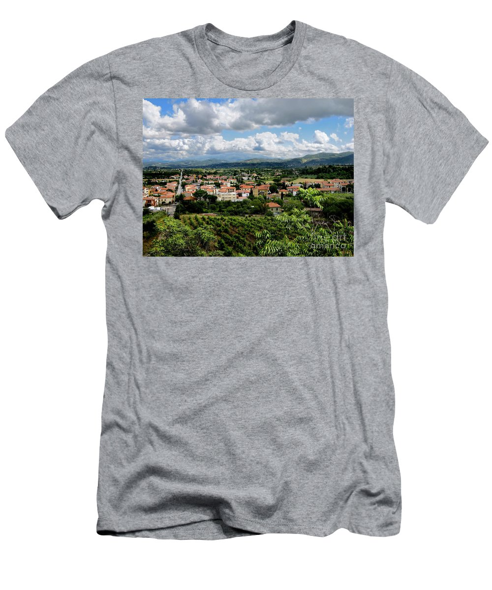 Tuscany Men's T-Shirt (Athletic Fit) featuring the photograph View Of Tuscany by Jennie Breeze
