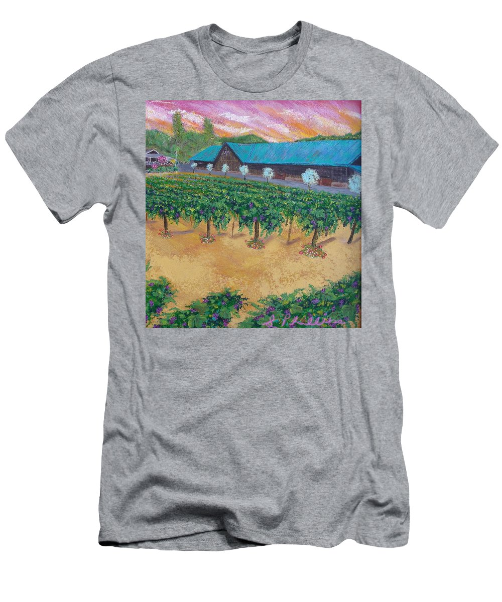 Landscapes Men's T-Shirt (Athletic Fit) featuring the painting Vineyard Sunset by Scott Phillips