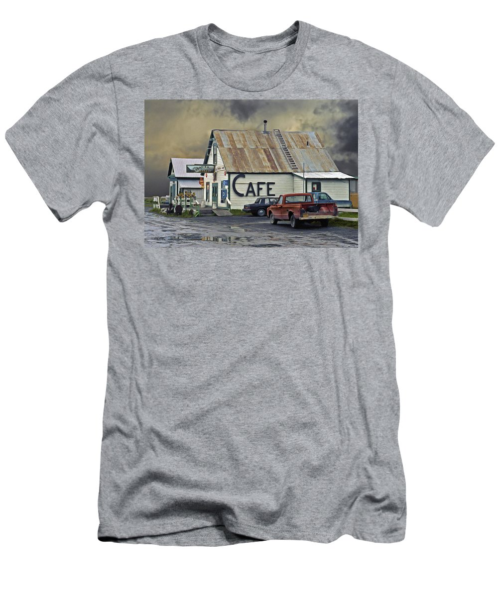 Alaska Men's T-Shirt (Athletic Fit) featuring the photograph Vintage Alaska Cafe by Ron Day