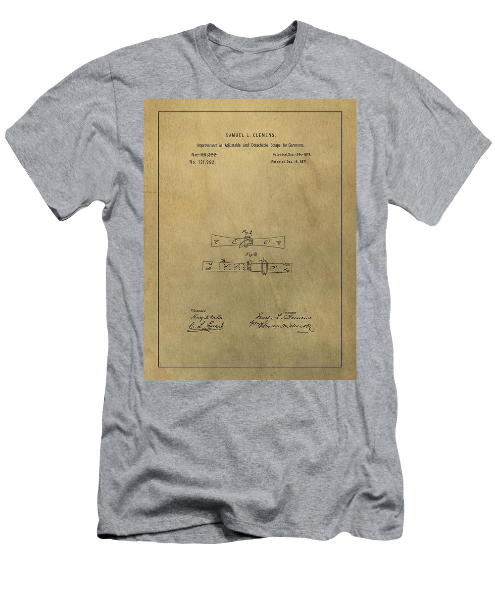 Vintage Mark Twain Patent Men's T-Shirt (Athletic Fit) featuring the mixed media Vintage Mark Twain Patent by Dan Sproul