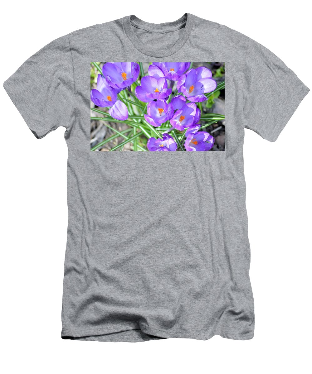 Beautiful Lilies Bunch Men's T-Shirt (Athletic Fit) featuring the photograph Violet Lilies by Sonali Gangane