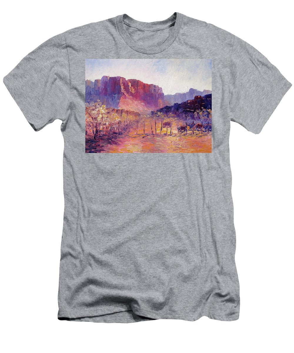 Virgin Valley Men's T-Shirt (Athletic Fit) featuring the painting Virgin Valley View by Terry Chacon