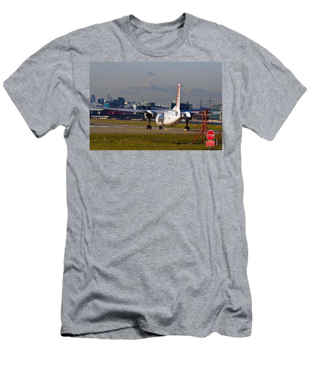 Cityjet Men's T-Shirt (Athletic Fit) featuring the photograph Waiting For Take-off by David Pyatt