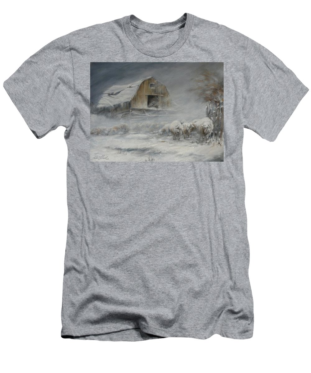 Sheep Men's T-Shirt (Athletic Fit) featuring the painting Waiting Out The Storm by Mia DeLode