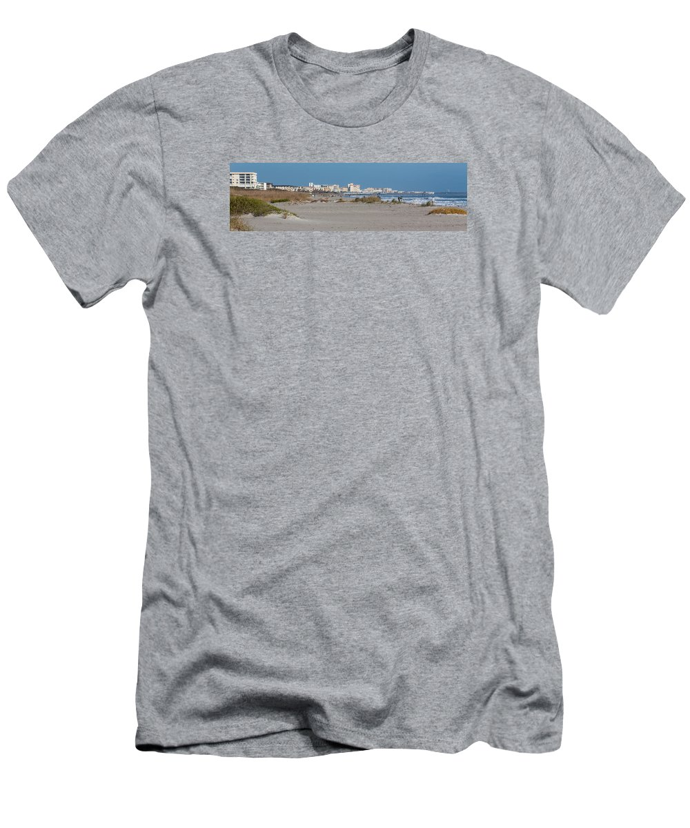 Beach Men's T-Shirt (Athletic Fit) featuring the photograph Walking Along Cocoa Beach by Ed Gleichman