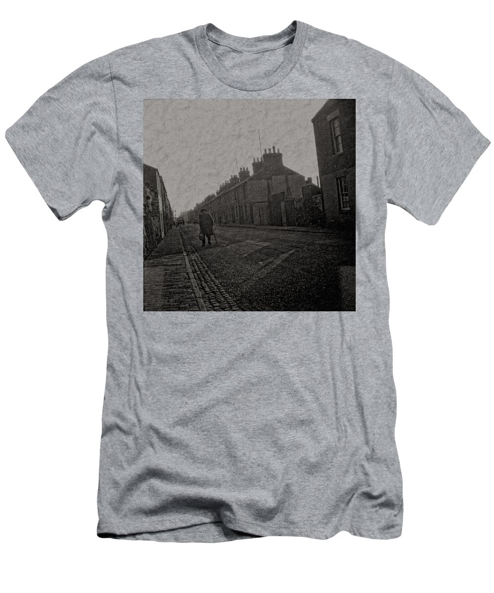 Men's T-Shirt (Athletic Fit) featuring the digital art Walking Down The Street by Cathy Anderson