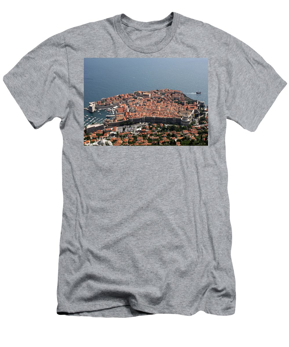 Dubrovnik Men's T-Shirt (Athletic Fit) featuring the photograph Walled City Of Dubrovnik by David Nicholls
