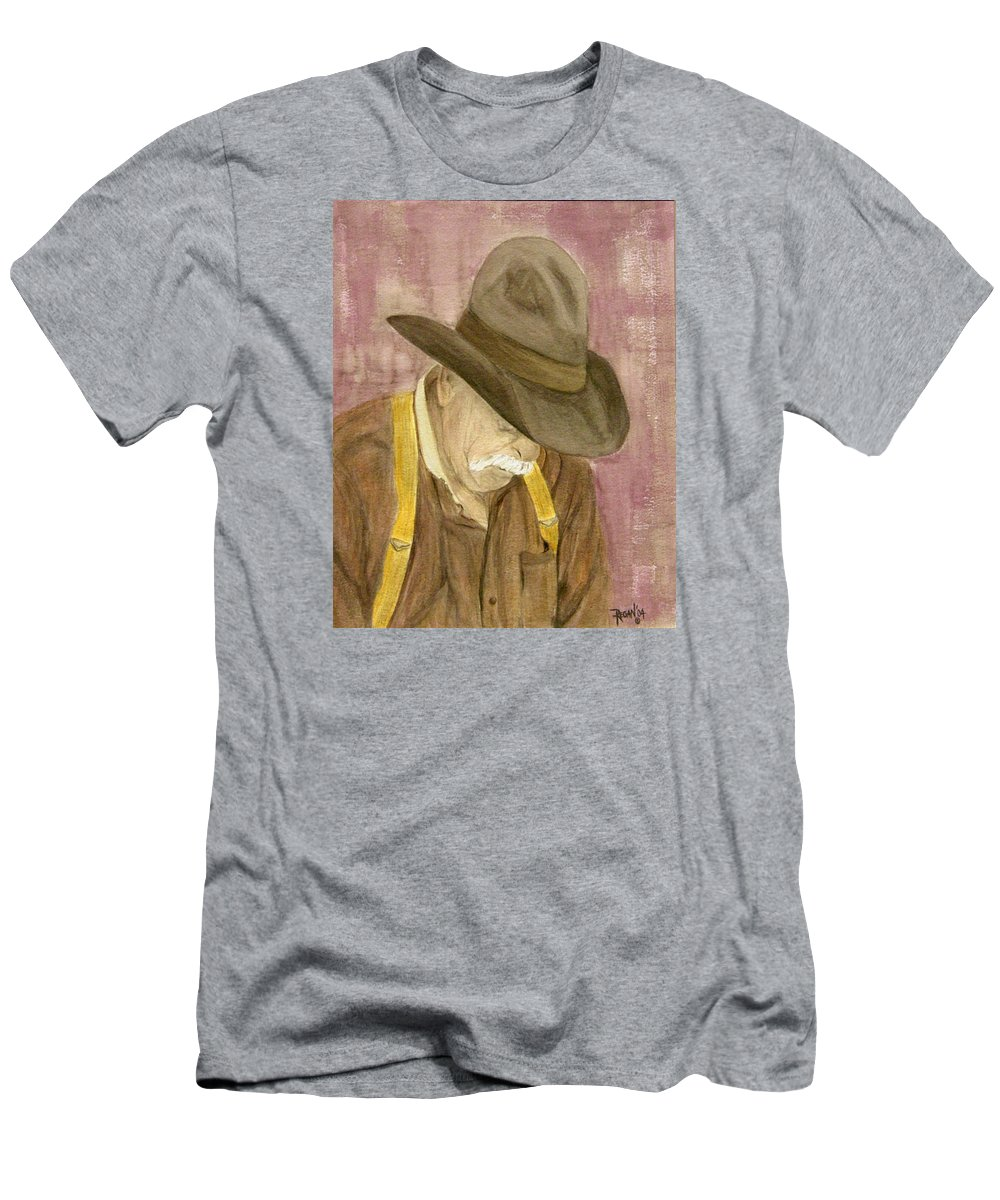 Western Men's T-Shirt (Athletic Fit) featuring the painting Walter by Regan J Smith