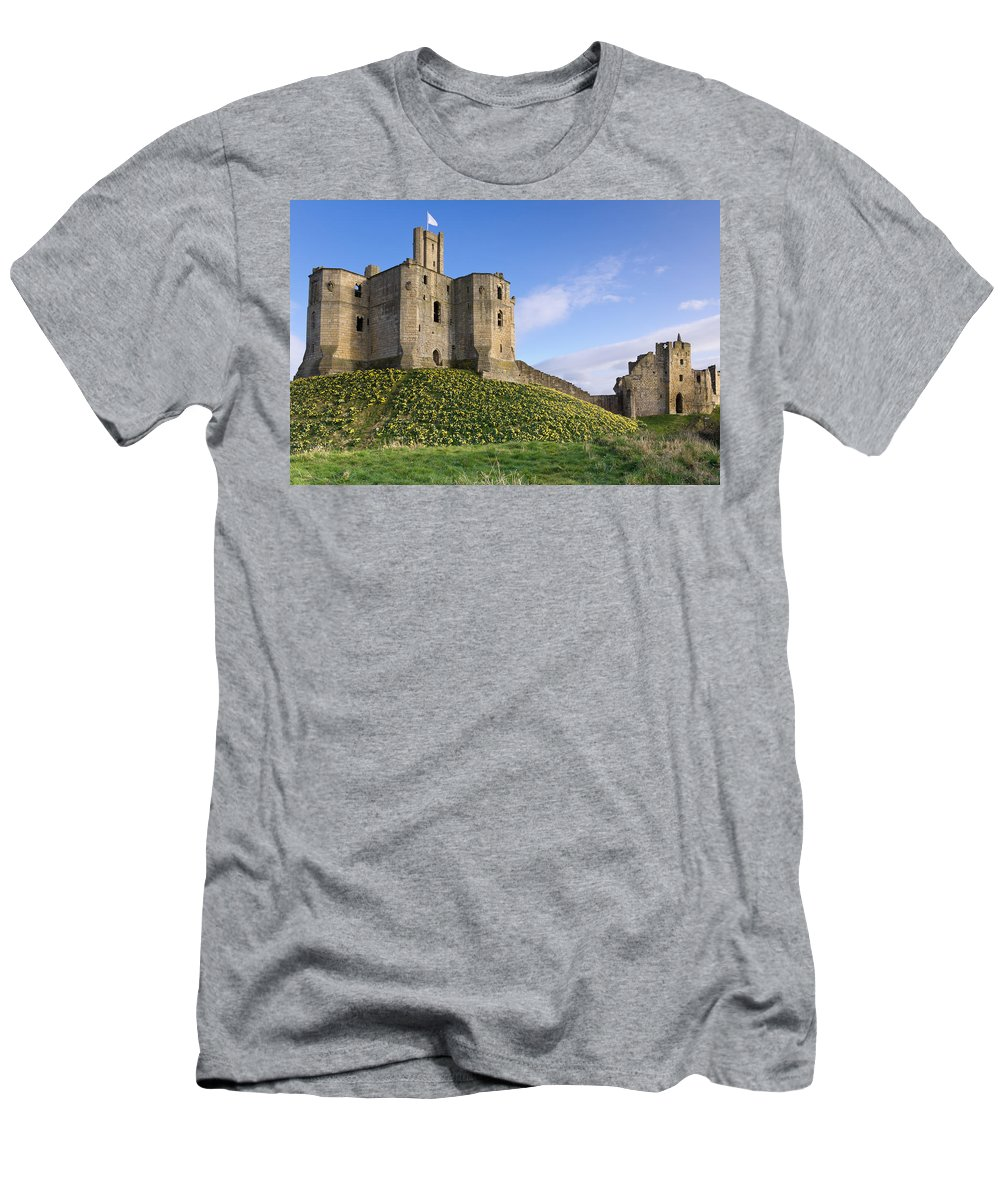 Northumberland Men's T-Shirt (Athletic Fit) featuring the photograph Warkworth Castle In Spring by David Head
