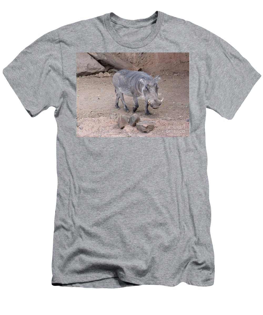 Zoo Animals Men's T-Shirt (Athletic Fit) featuring the photograph Wart Hog by Mary Deal
