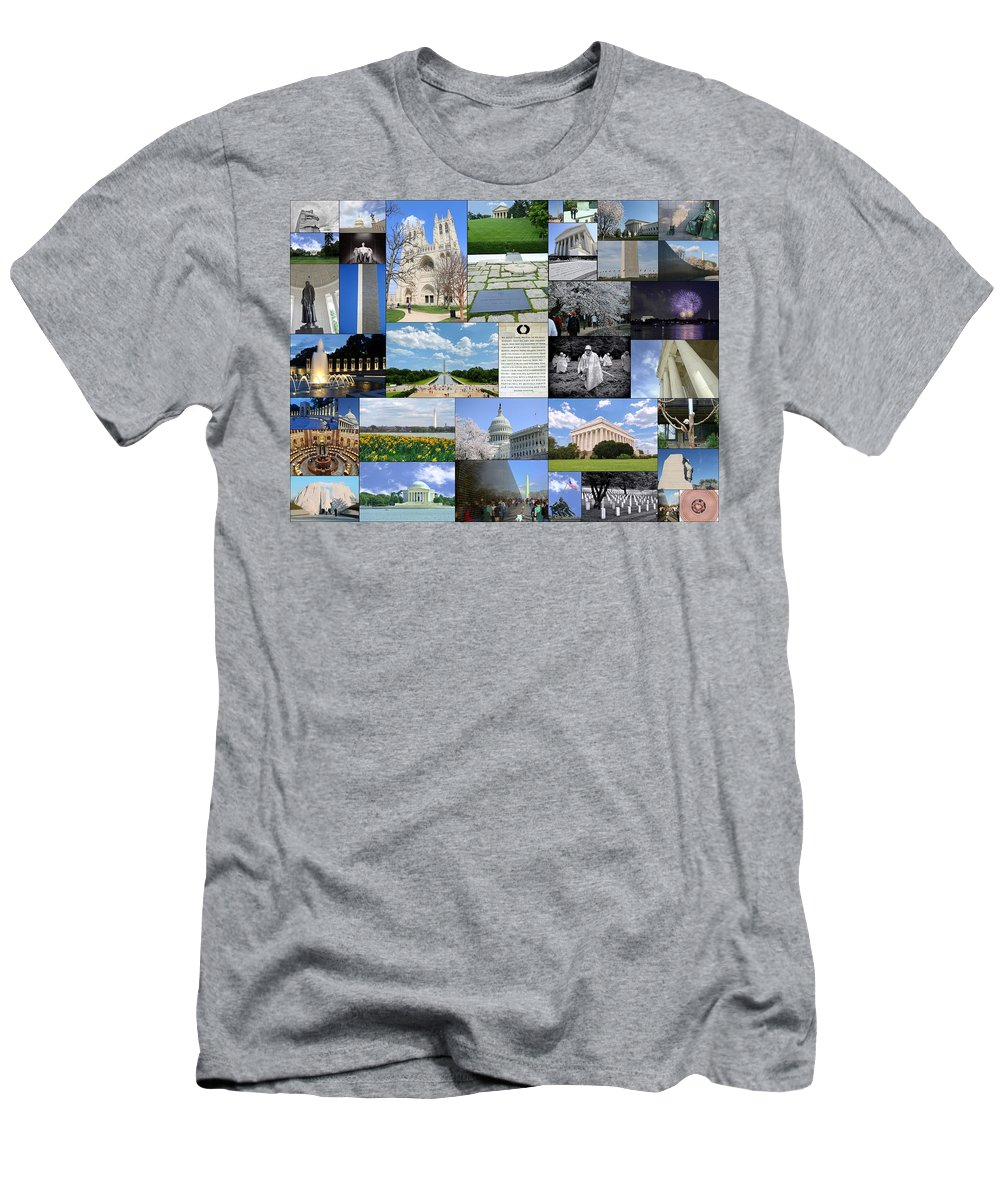 Capitol Building Men's T-Shirt (Athletic Fit) featuring the photograph Washington D. C. Collage by Allen Beatty