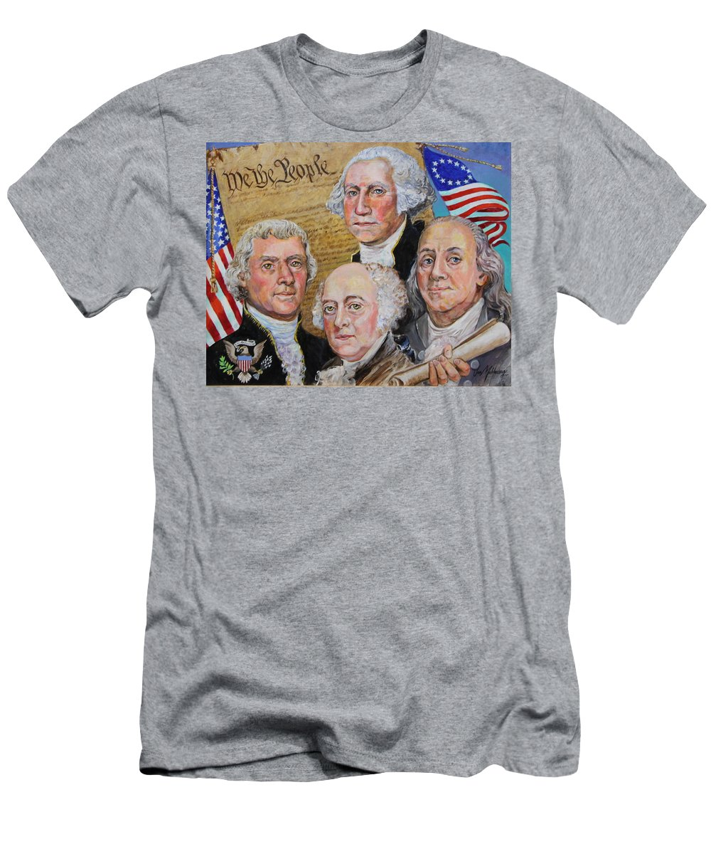 Founding Fathers Portrait Of Thomas Jefferson Men's T-Shirt (Athletic Fit) featuring the painting Founding Fathers Washington Jefferson Adams And Franklin by Jan Mecklenburg