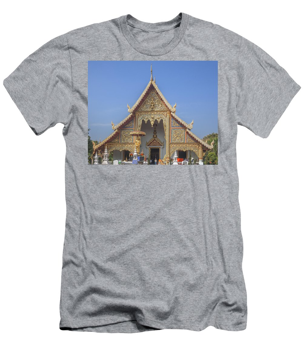 Scenic Men's T-Shirt (Athletic Fit) featuring the photograph Wat Phra Singh Phra Wihan Luang Gable Dthcm0238 by Gerry Gantt