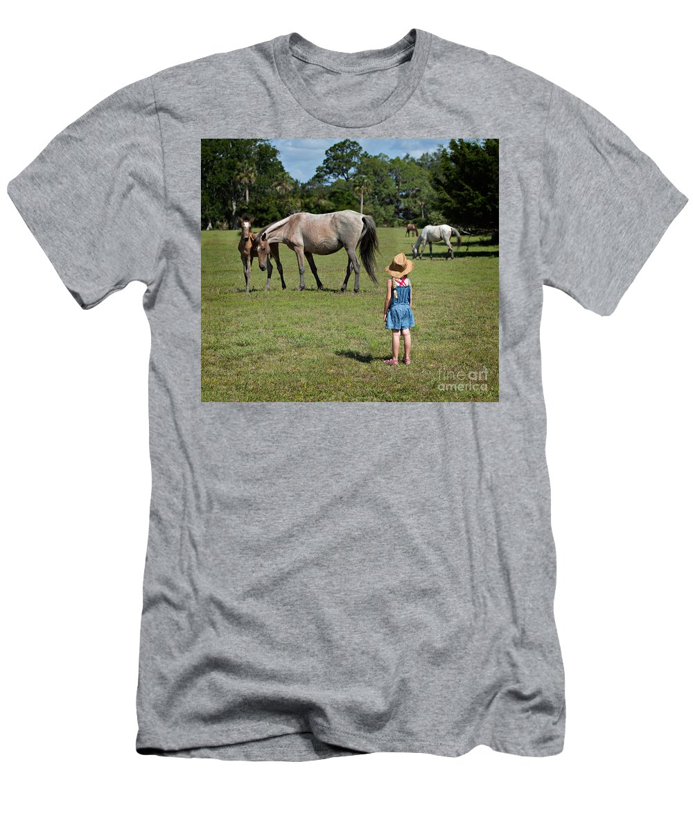 Wild Men's T-Shirt (Athletic Fit) featuring the photograph Watching The Wild Horses by Louise Heusinkveld