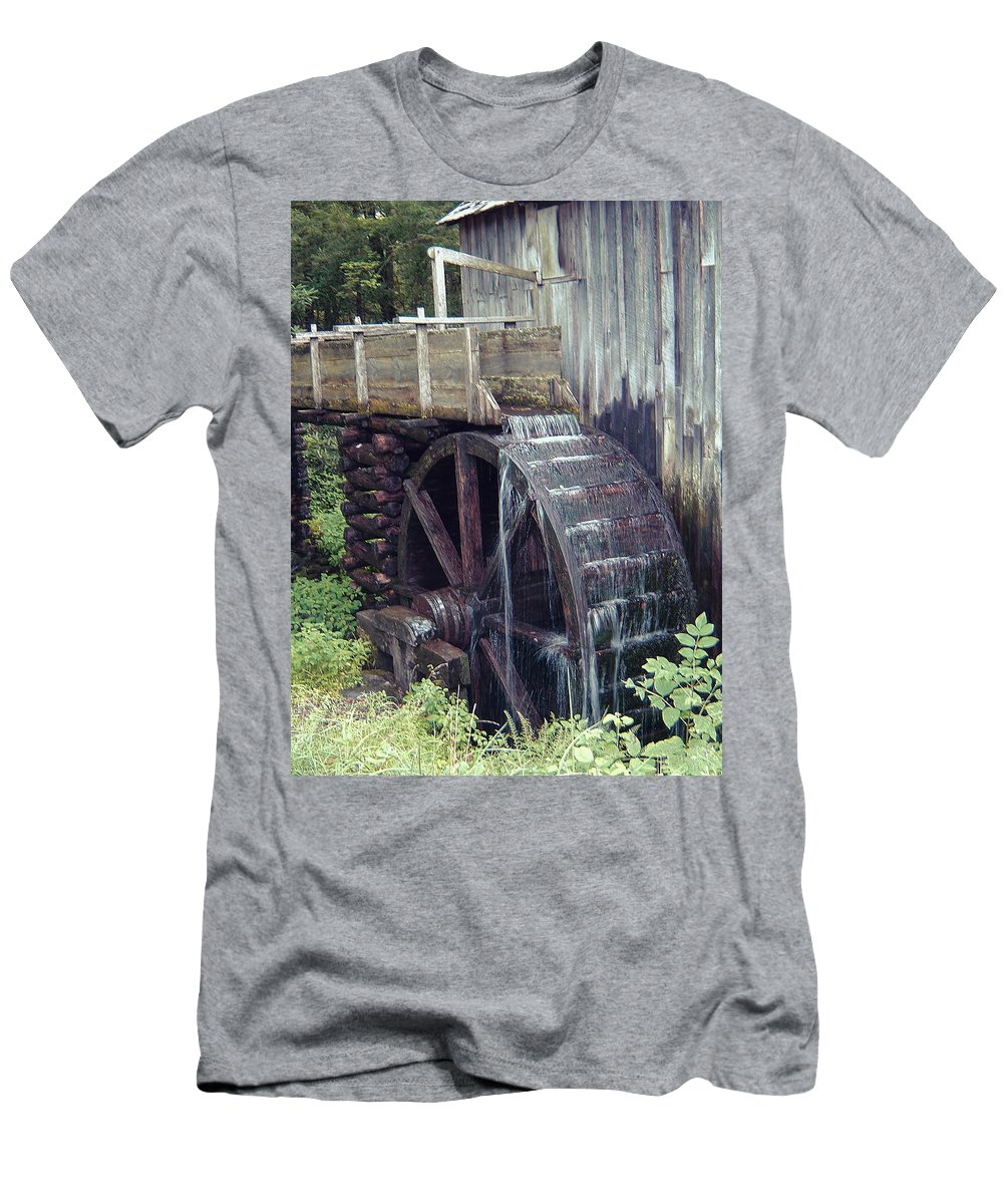 Waterwheel Men's T-Shirt (Athletic Fit) featuring the photograph Water Wheel by Phyllis Taylor