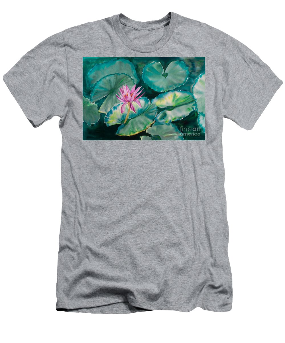 Waterlily Painting Men's T-Shirt (Athletic Fit) featuring the painting Waterlily by Deborah Pence