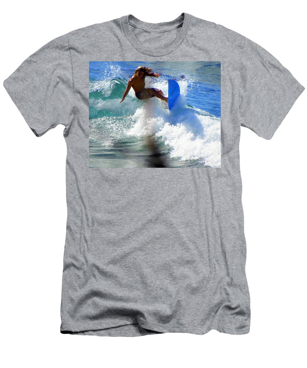 Surfers Men's T-Shirt (Athletic Fit) featuring the photograph Wave Rider by Karen Wiles