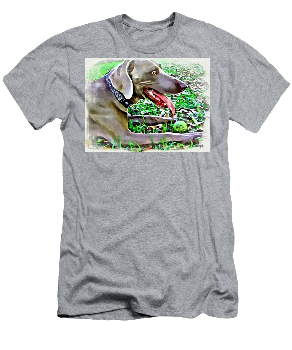 Weimaraner Men's T-Shirt (Athletic Fit) featuring the photograph Weimaraner With Tennis Ball by Rebecca Korpita
