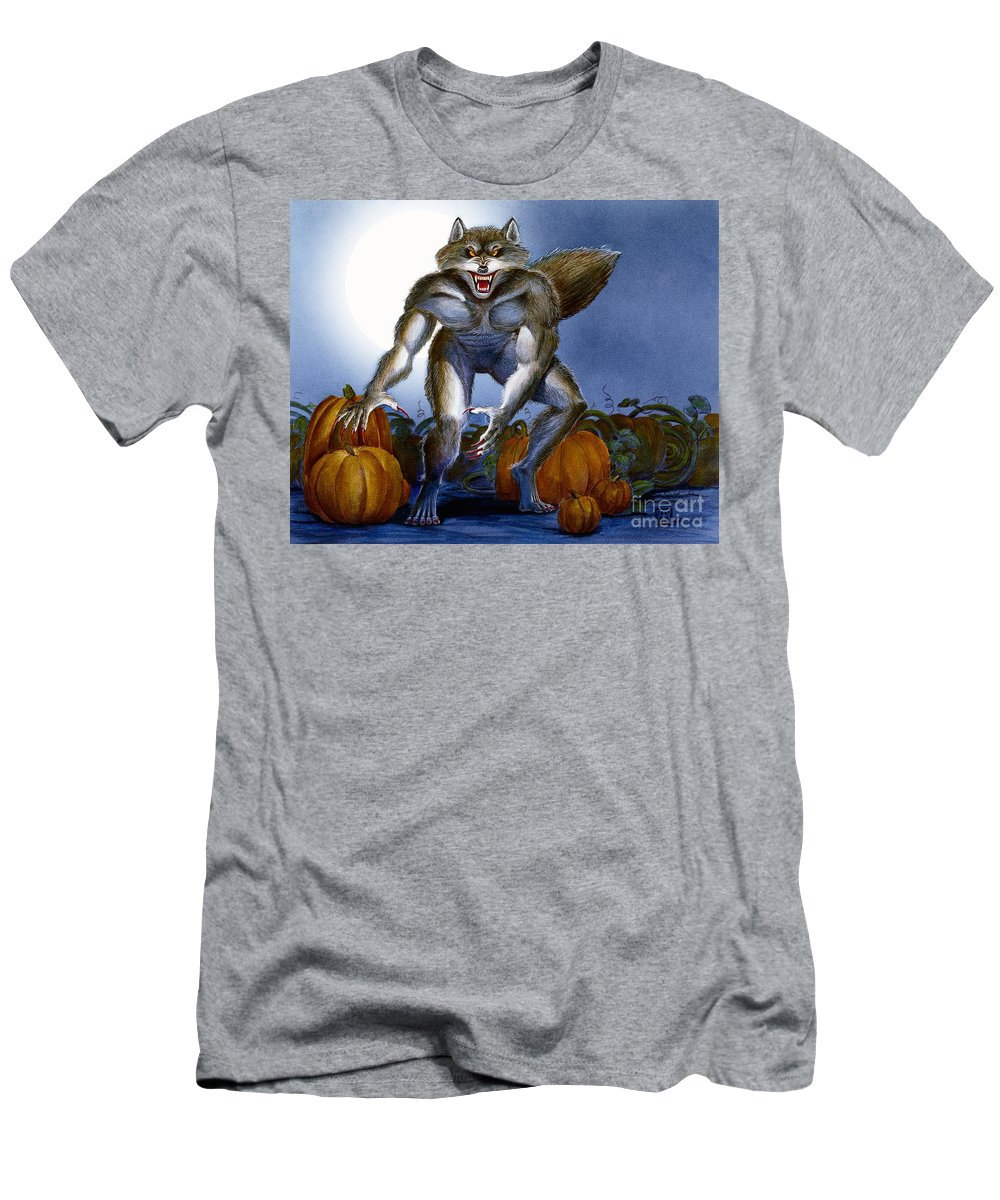 Werewolf Men's T-Shirt (Athletic Fit) featuring the painting Werewolf With Pumpkins by Melissa A Benson
