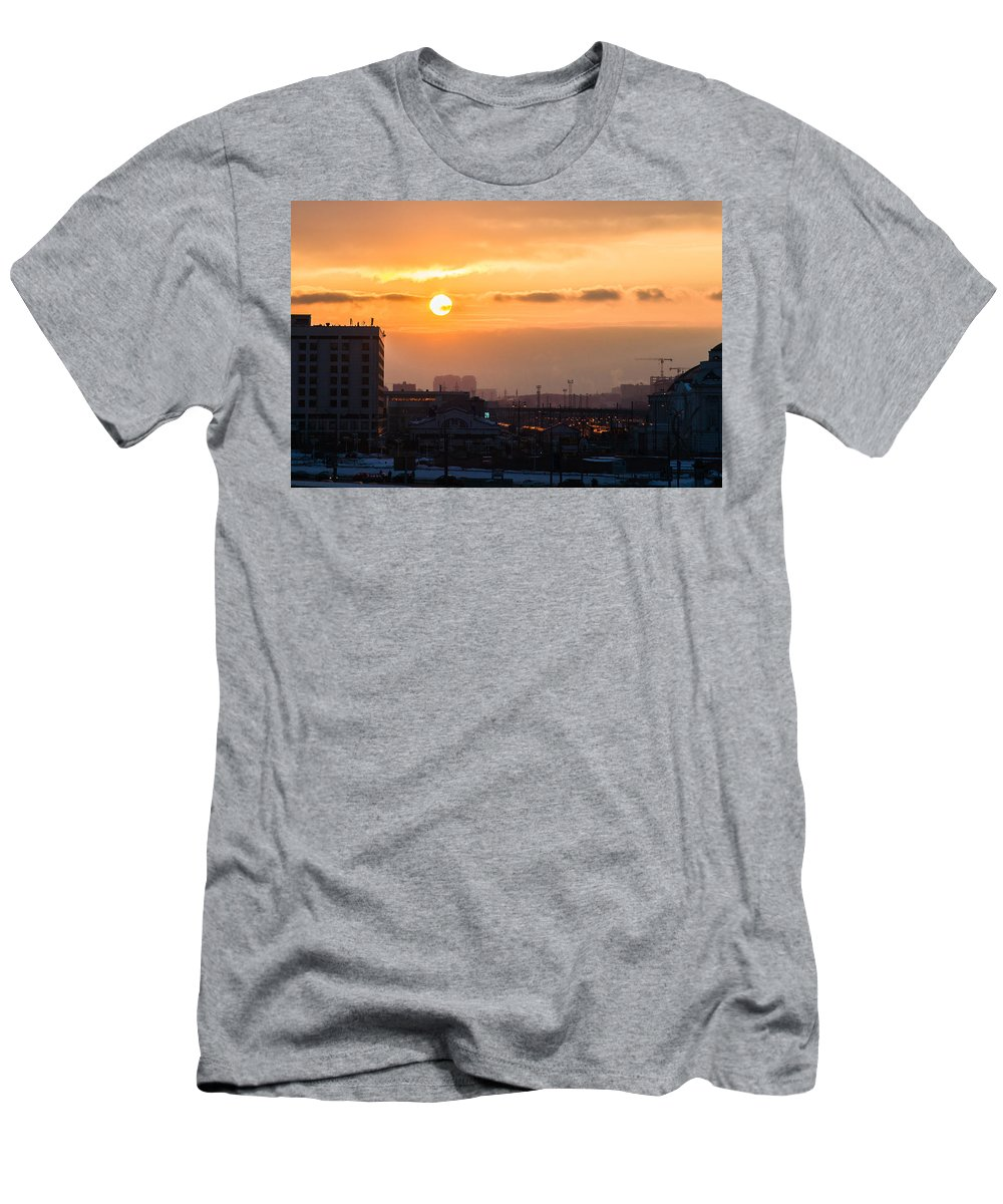 Cityscape Men's T-Shirt (Athletic Fit) featuring the photograph West Bound Trains by Alexander Senin