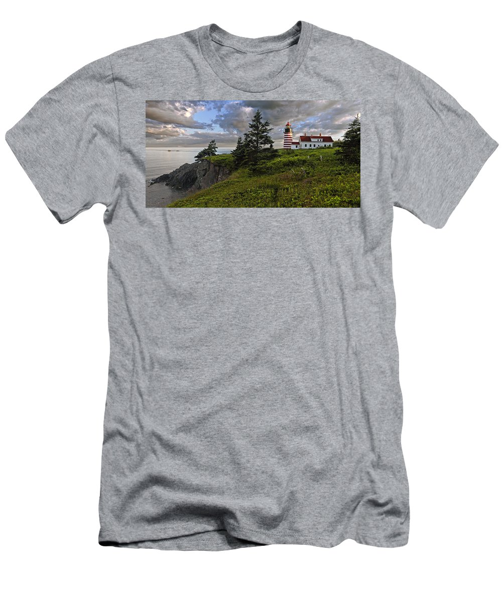 Lighthouse Men's T-Shirt (Athletic Fit) featuring the photograph West Quoddy Head Lighthouse Panorama by Marty Saccone