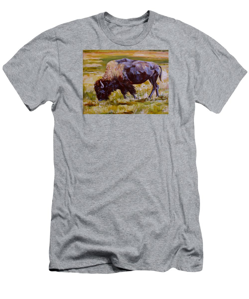 Bison Men's T-Shirt (Athletic Fit) featuring the painting Western Icon by Derrick Higgins