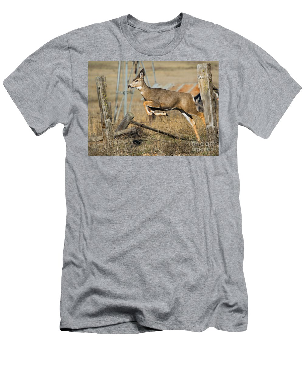 Doe Men's T-Shirt (Athletic Fit) featuring the photograph What Fence by Mike Dawson