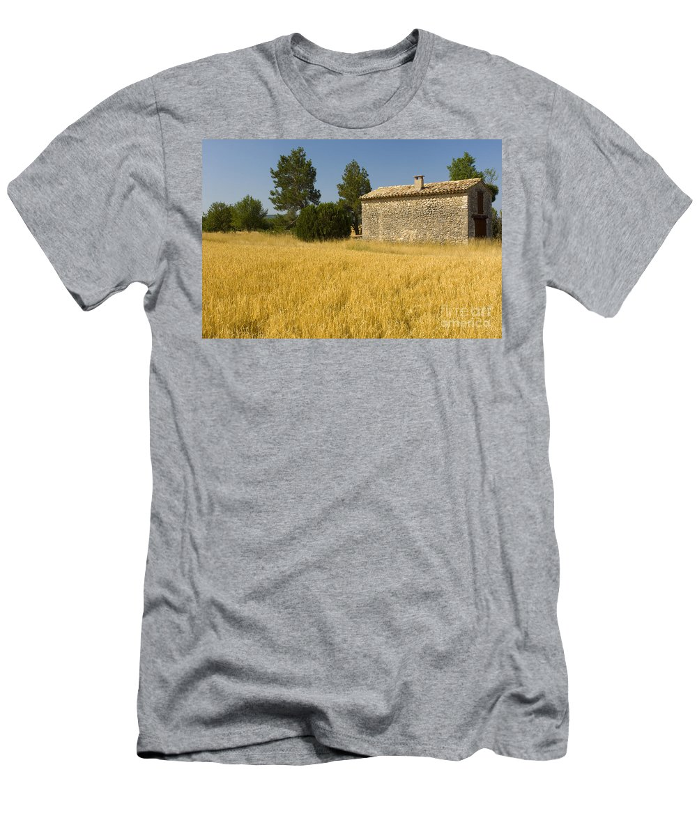 Stone Building Men's T-Shirt (Athletic Fit) featuring the photograph Wheat Field, France by John Shaw
