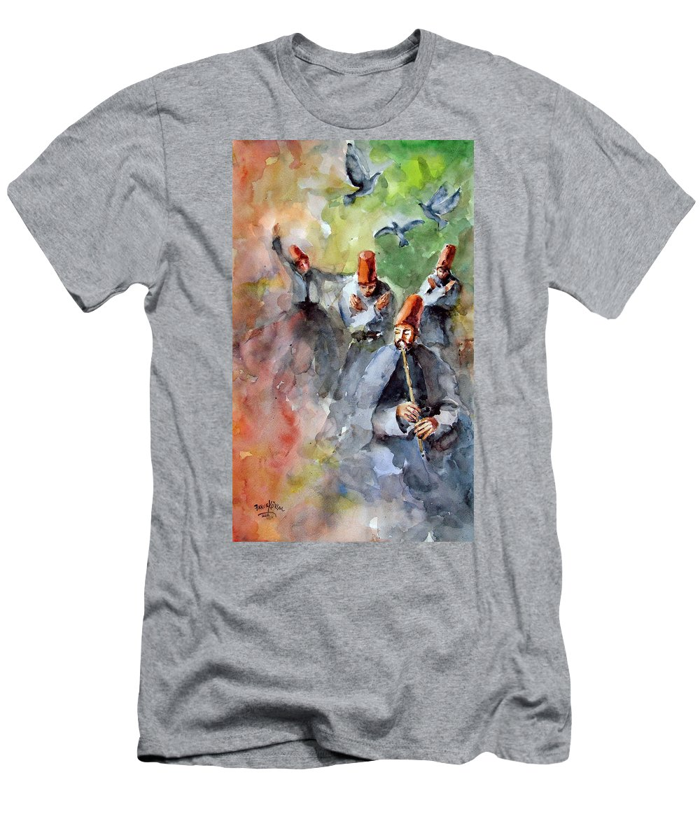 Mevlevi Cult Men's T-Shirt (Athletic Fit) featuring the painting Whirling Dervishes And Pigeons     by Faruk Koksal