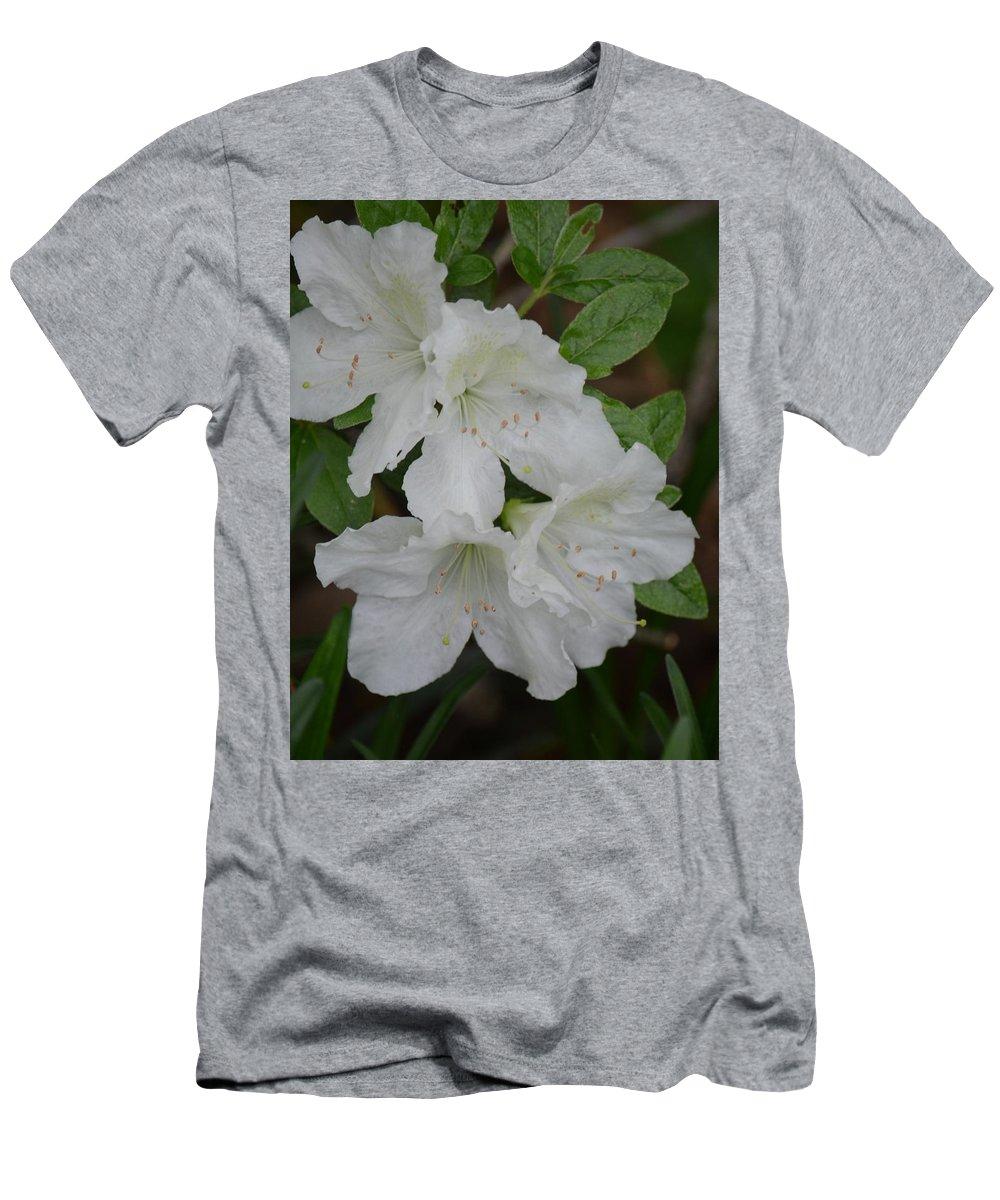 White Azalea 14-1 Men's T-Shirt (Athletic Fit) featuring the photograph White Azalea 14-1 by Maria Urso