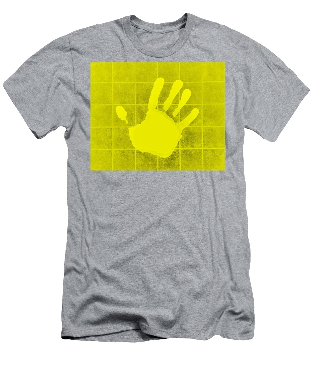 Hand Men's T-Shirt (Athletic Fit) featuring the photograph White Hand Yellow by Rob Hans