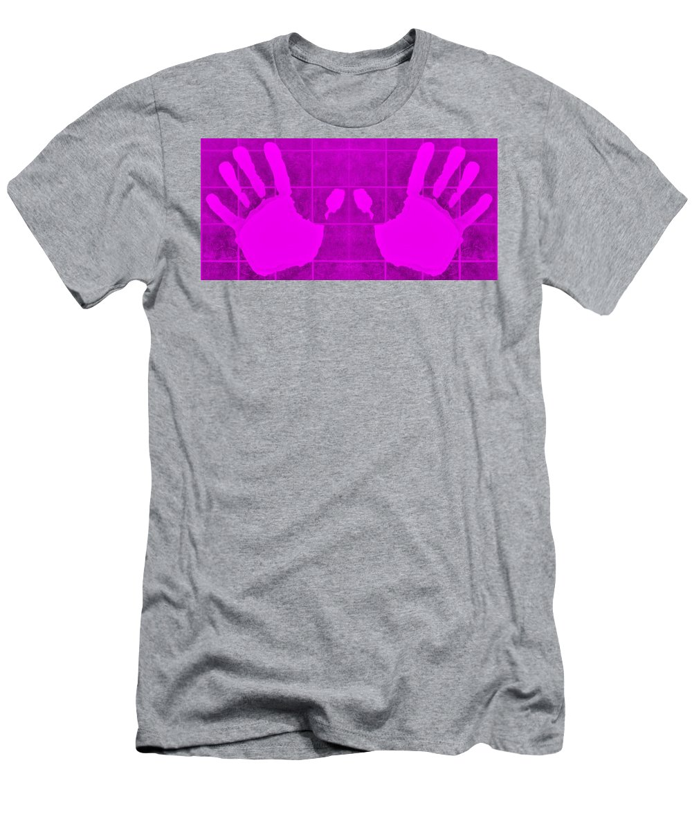 Hand Men's T-Shirt (Athletic Fit) featuring the photograph White Hands Purple by Rob Hans
