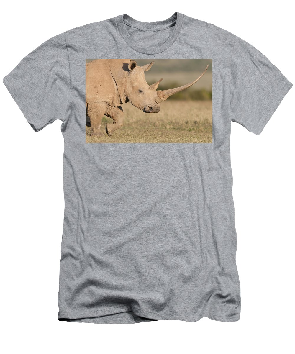 Feb0514 Men's T-Shirt (Athletic Fit) featuring the photograph White Rhinoceros Kenya by Tui De Roy
