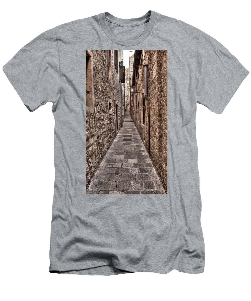 Dubrovnik Men's T-Shirt (Athletic Fit) featuring the photograph White Streets Of Dubrovnik No3 by Weston Westmoreland