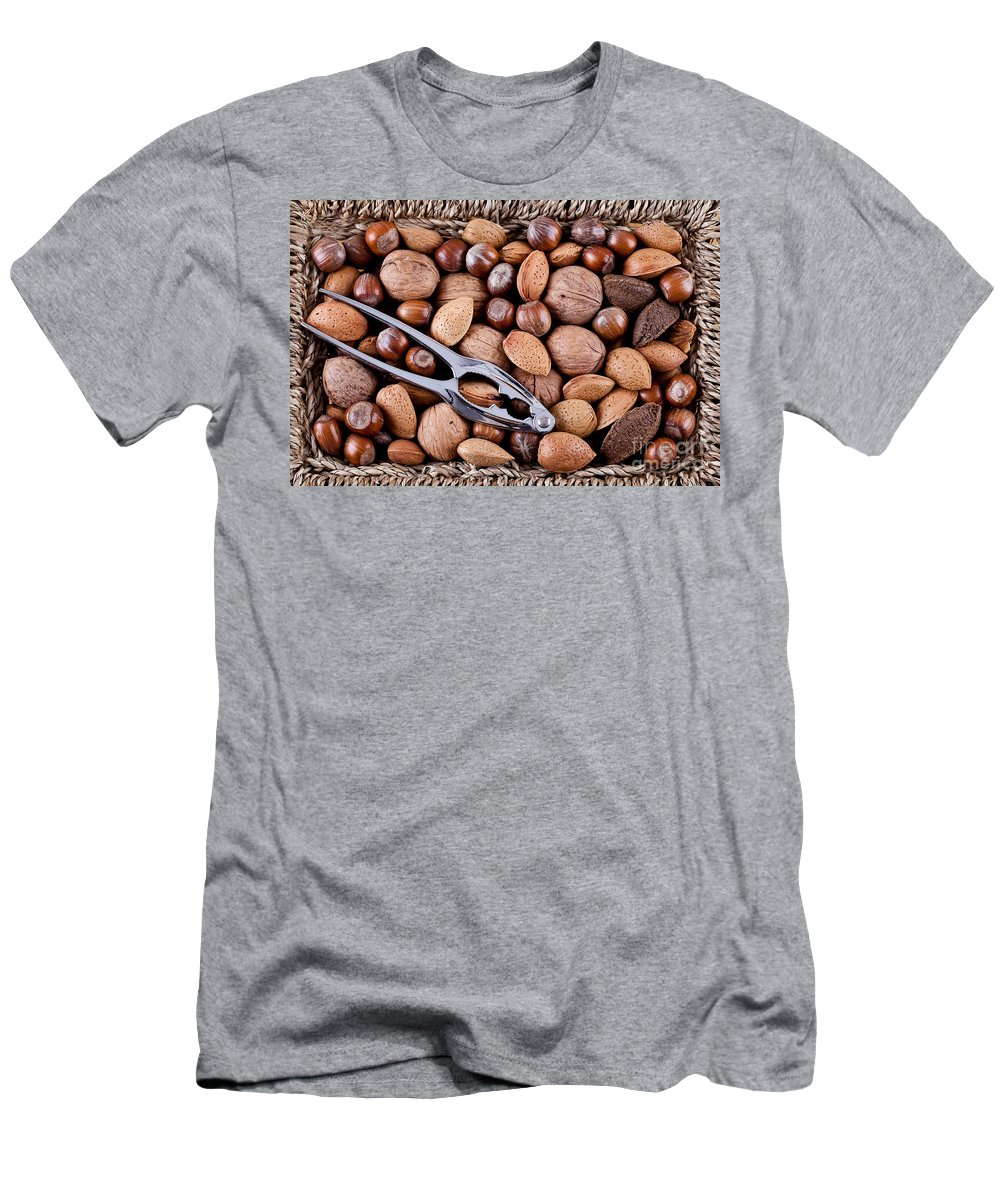 Nuts Men's T-Shirt (Athletic Fit) featuring the photograph Whole Nuts In A Basket by Simon Bratt Photography LRPS