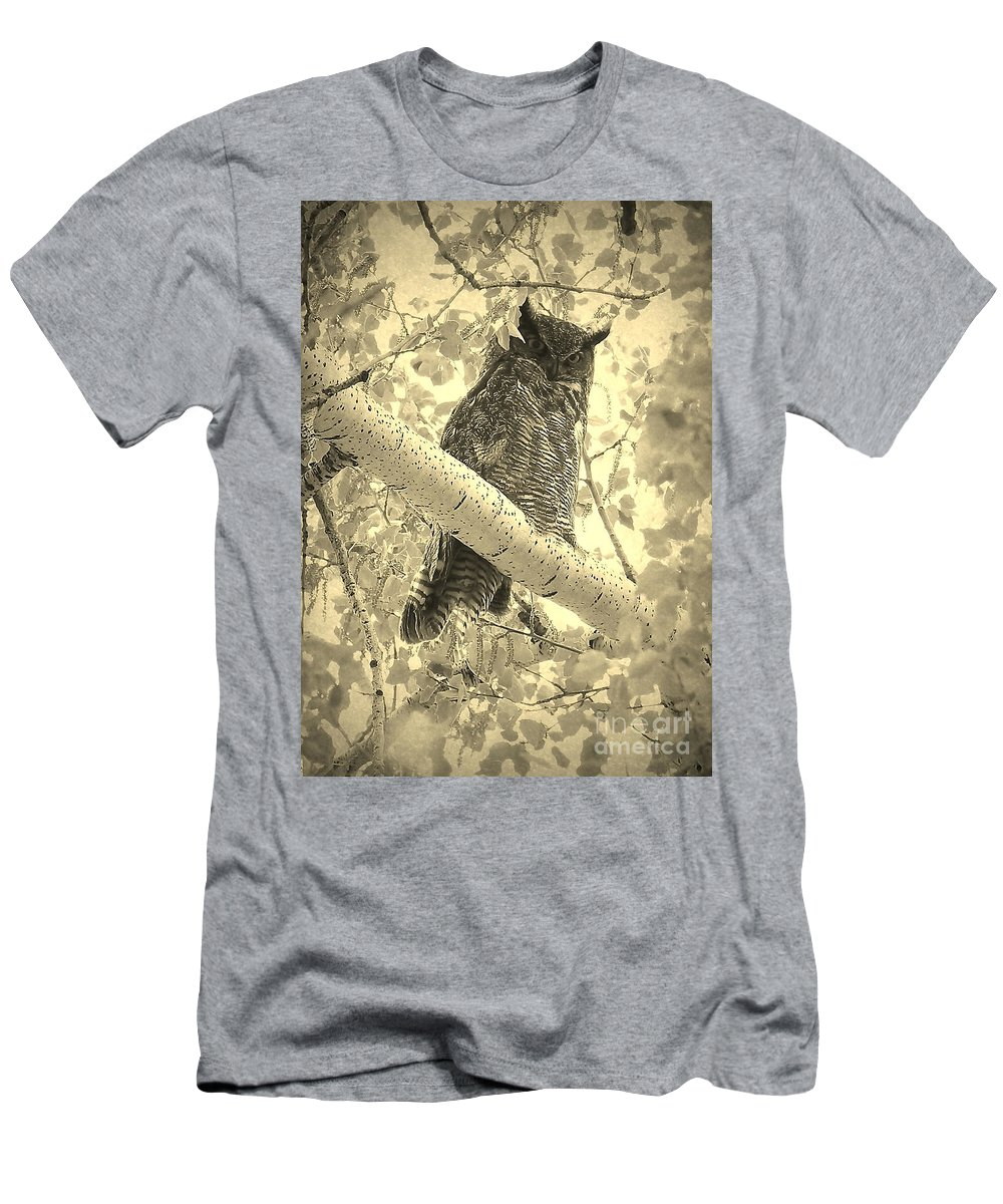 Great Horned Owl Men's T-Shirt (Athletic Fit) featuring the photograph Who's Watching - Sepia by Carol Groenen