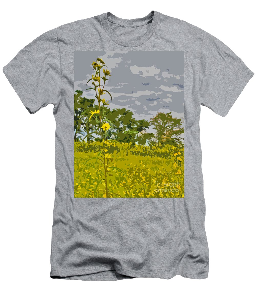 Flowers Men's T-Shirt (Athletic Fit) featuring the photograph Wild Flower Field Abstract by Minding My Visions by Adri and Ray