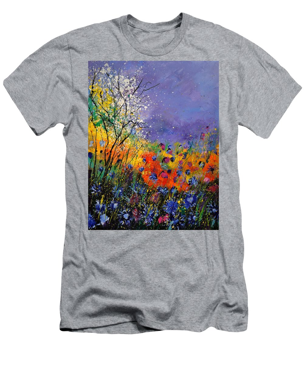 Landscape T-Shirt featuring the painting Wild Flowers 4110 by Pol Ledent