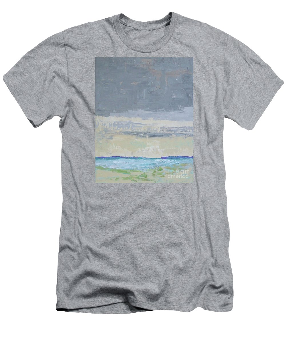Abstract Impressionism Men's T-Shirt (Athletic Fit) featuring the painting Wind And Rain On The Bay by Gail Kent