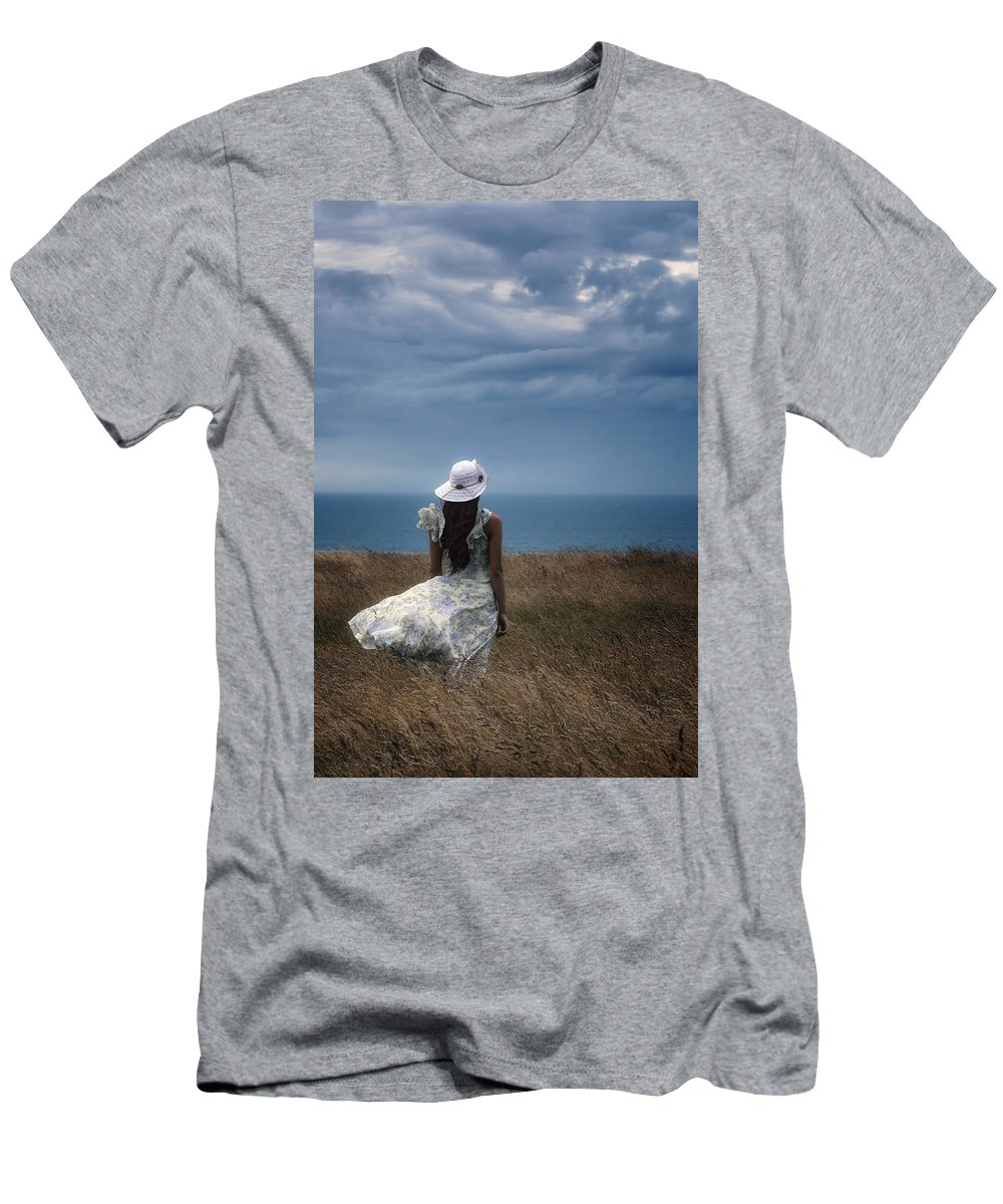 Girl Men's T-Shirt (Athletic Fit) featuring the photograph Windy Day by Joana Kruse
