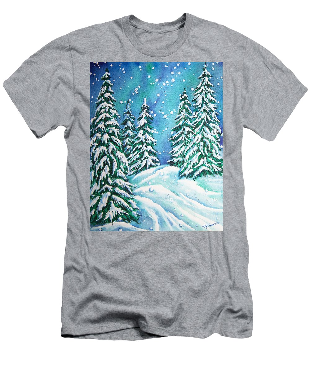 Snow Men's T-Shirt (Athletic Fit) featuring the painting Winter by Conni Reinecke
