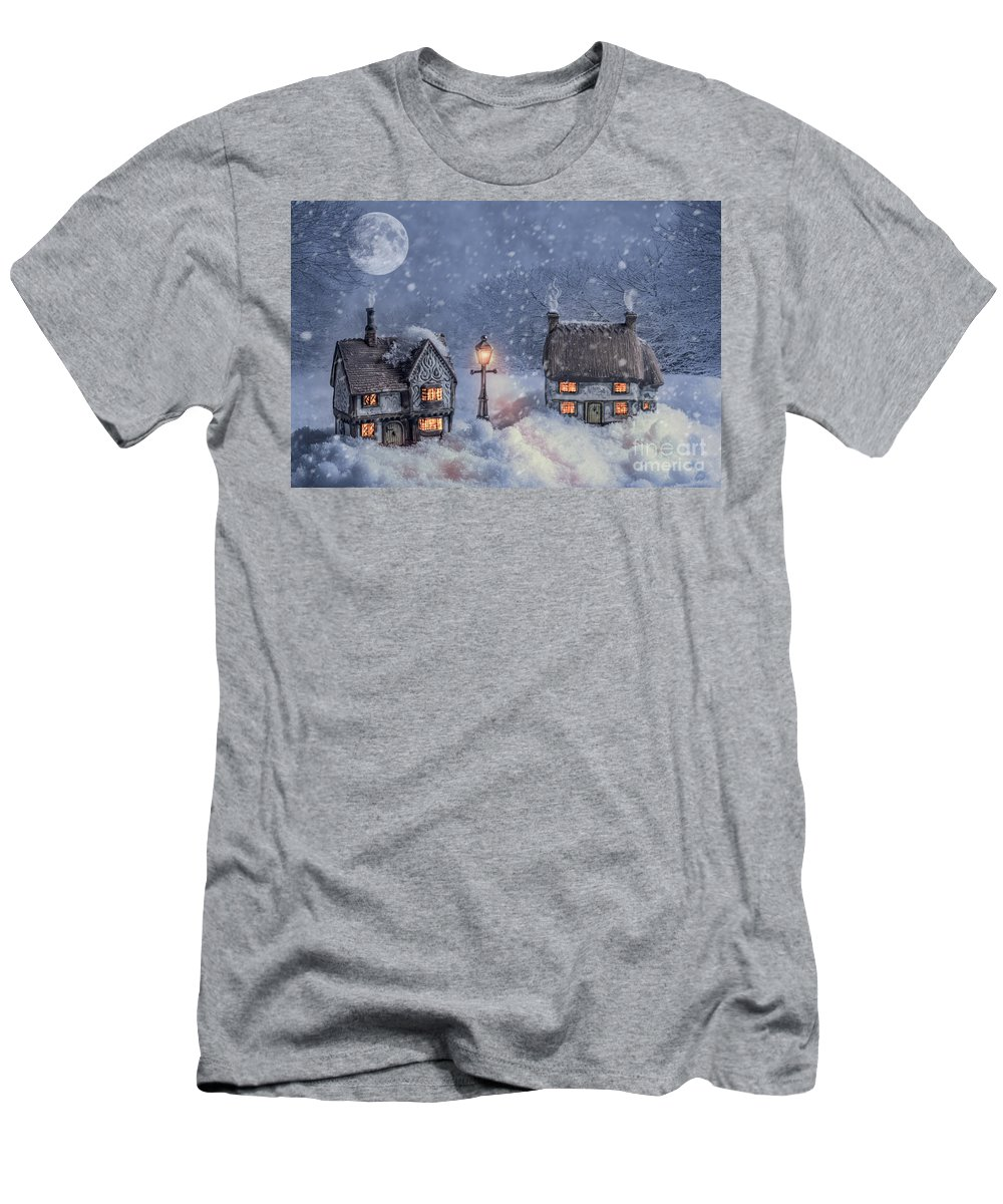 Christmas Men's T-Shirt (Athletic Fit) featuring the photograph Winter Cottages In Snow by Amanda Elwell