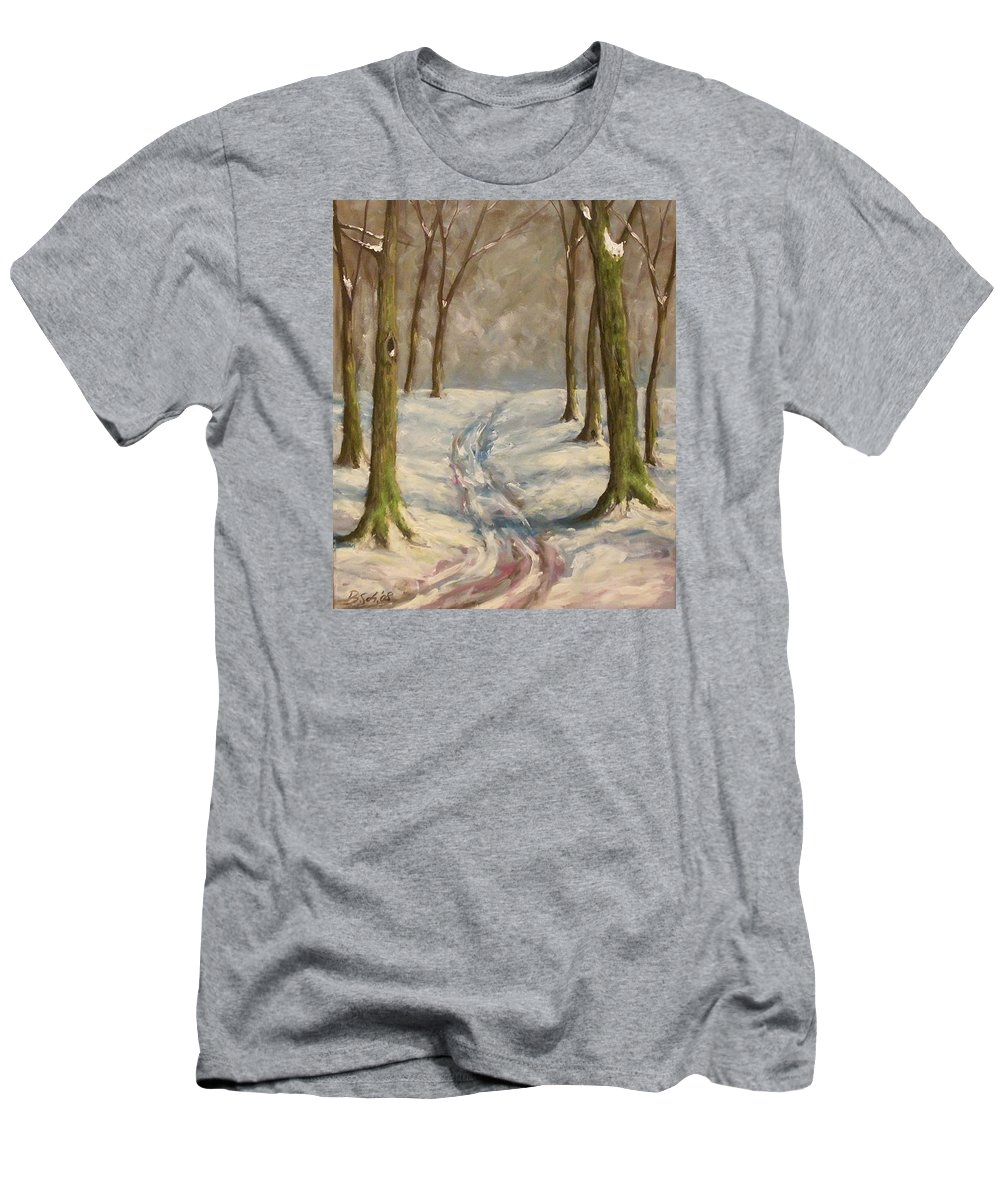 Winter Men's T-Shirt (Athletic Fit) featuring the painting Winter Day by Birgit Schnapp