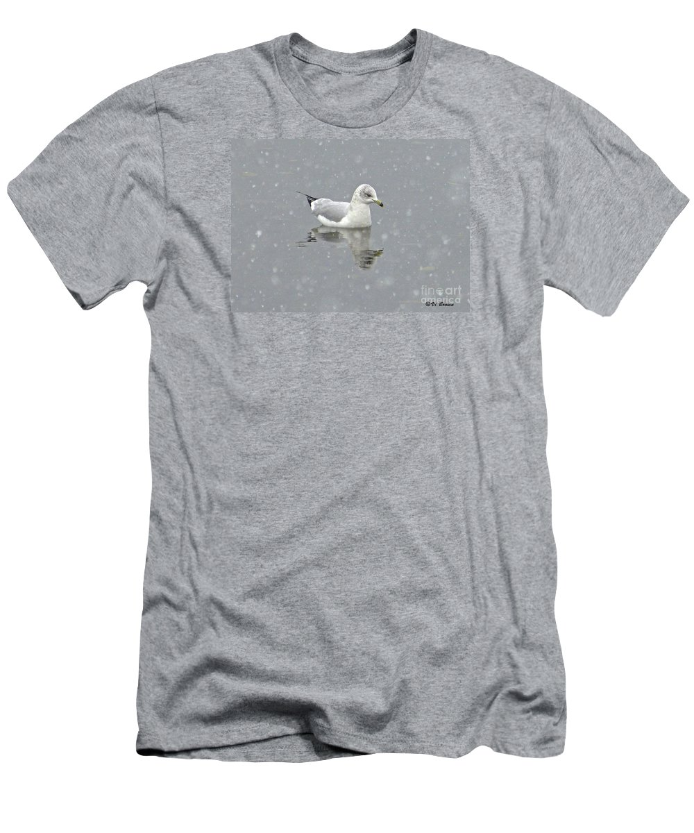 Snowing On Sea Gull Men's T-Shirt (Athletic Fit) featuring the photograph Winter Day by Vi Brown