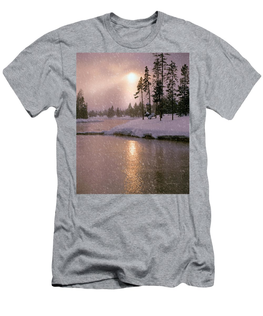 Idaho Men's T-Shirt (Athletic Fit) featuring the photograph Winters Light by Leland D Howard