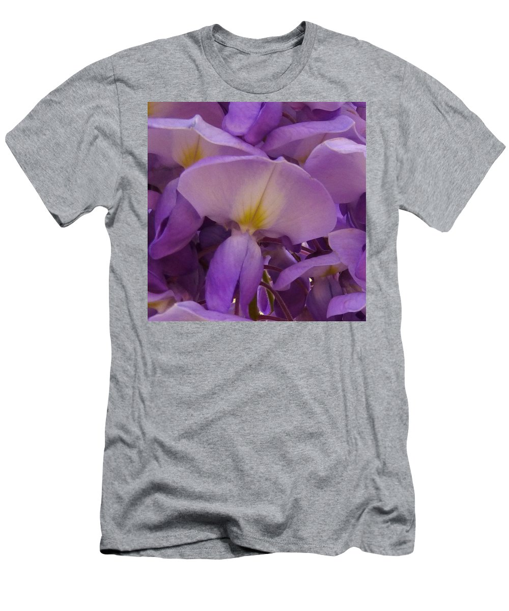 Purple Men's T-Shirt (Athletic Fit) featuring the photograph Wisteria Parasol by Claudia Goodell
