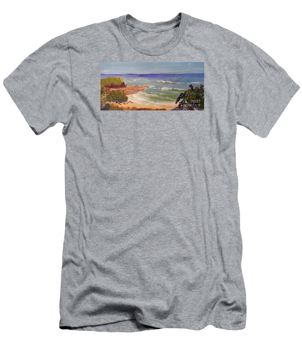 Impressionism Men's T-Shirt (Athletic Fit) featuring the painting Wombarra Beach by Pamela Meredith