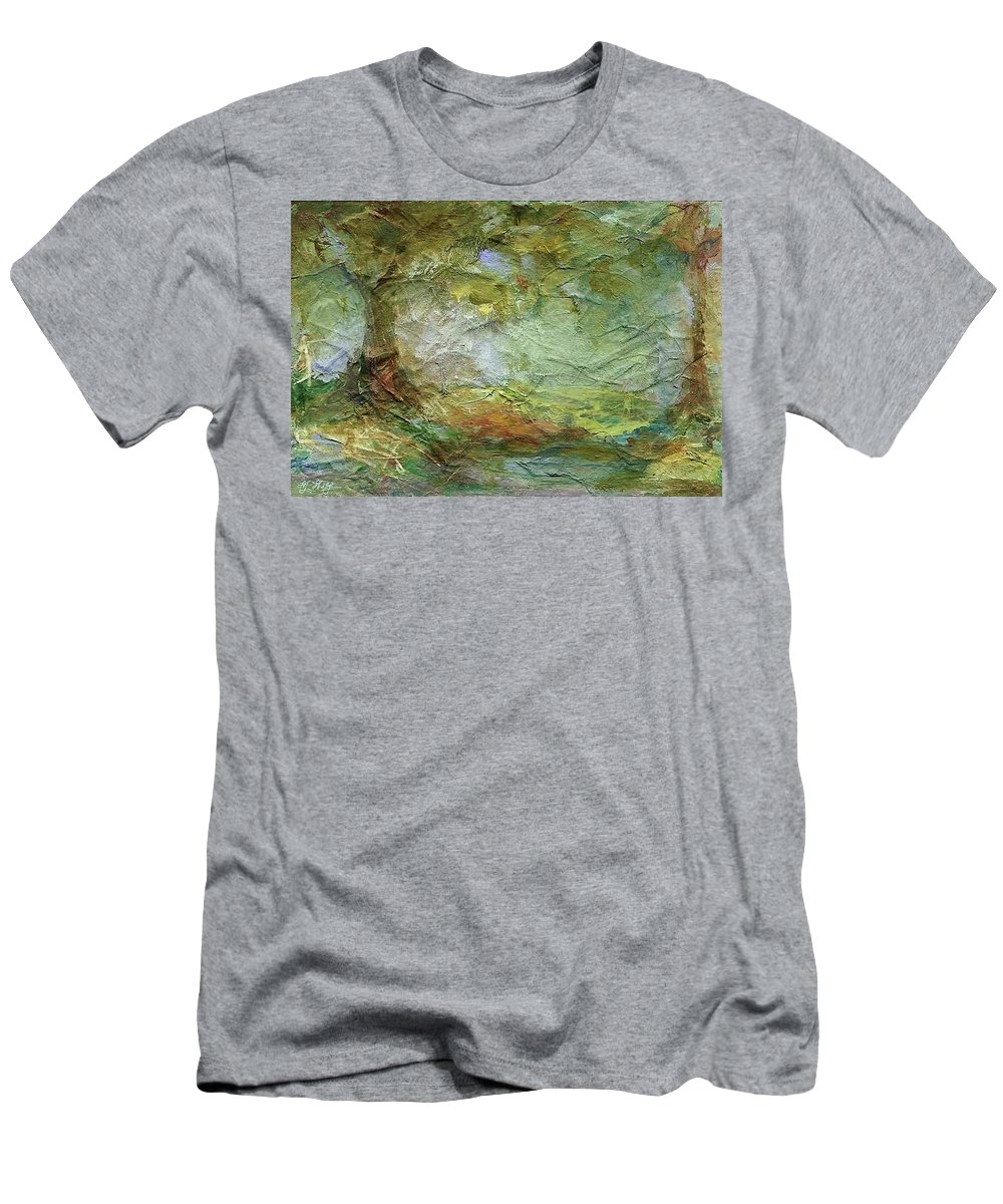 Textured Landscape Men's T-Shirt (Athletic Fit) featuring the painting Woodland Impressions by Mary Wolf