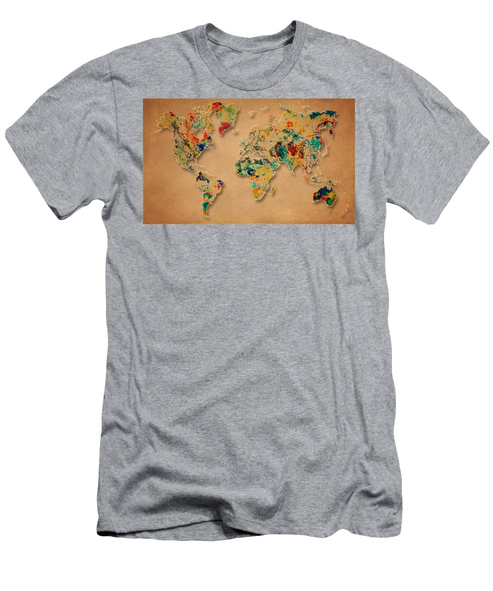 World Map Men's T-Shirt (Athletic Fit) featuring the painting World Map Watercolor Painting 2 by Georgeta Blanaru